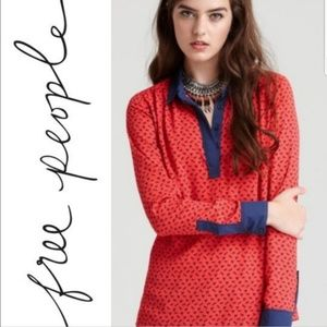 Free People horse print blouse red and blue